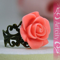 Vintage style Resin Pink Rose Flower Adjustable Ring