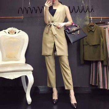 ESBONS Dior' Women Fashion Tailored Collar Bandage Cardigan Sleeveless Suits Vest Jacket Trousers Set Two-Piece