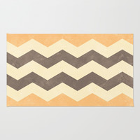 Peach, Grey and Cream Chevron Area & Throw Rug by Kat Mun | Society6