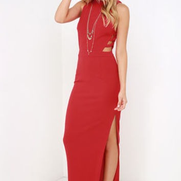 Intents and Purposes Red Sleeveless Maxi Dress