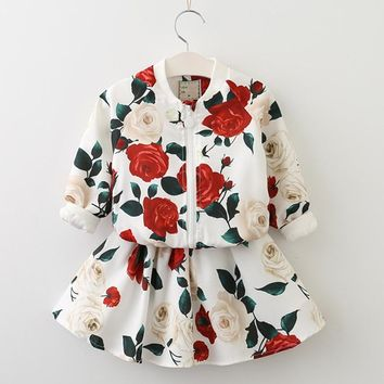Girls Clothing Sets 2018 Fashion Girls Clothes Long Sleeve Floral Coats+Rose Floral Skirts Children Clothes Kids Clothing Sets