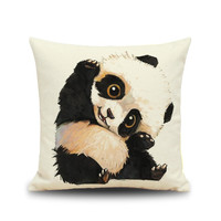 Cute baby panda animal Square linen cotton throw / cushion / Decorative pillow no filling bed couch rest sets kids lovely gift