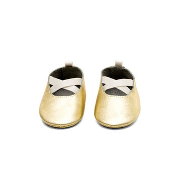 Ballerina Leather Baby Moccasins Gold