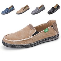 L-RUN Casual Slip-On Canvas Shoes Men's Light Cloth Loafers