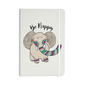 "Pom Graphic Design ""Be Happy"" Tan Typography Everything Notebook"