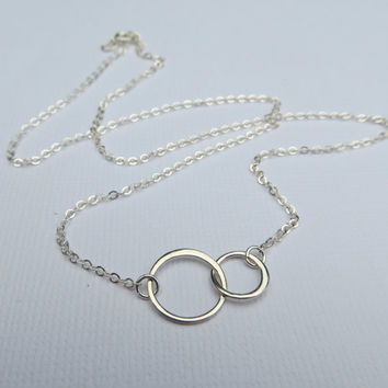 Small Interlocking Circles Necklace. Infinity Necklace.Two Link Circle Pendant Necklace. Double Link Circle Sterling Silver Necklace.