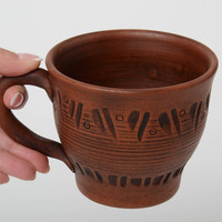 Ceramic cup 400 ml small brown beautiful handmade pottery clay mug for tea