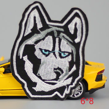 HOT sale 1Pc Wolf kid happy Iron On Embroidered Patch For Cloth Cartoon Badge Garment Appliques DIY Accessory