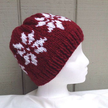 Knit wool beanie - Snowflake beanie - Maroon knit hat - Chunky knit hat - Womens hats - Fair Isle hat