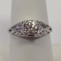 Antique Old Mine Cut Platinum Diamond Engagement Wedding Ring Filigree Solitaire Promise Ring
