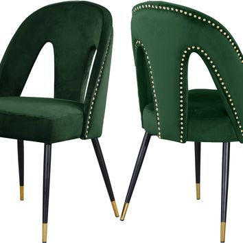 Akoya Green Velvet Dining Chair (set of 2)