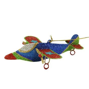 ONETOW 5' Glitter Drenched Star Accented Dual Propeller Airplane Christmas Ornament
