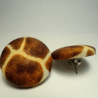 Giraffe Print Button Stud Post Earrings-Ready to Ship