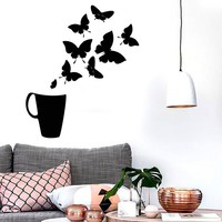 Vinyl Decal Coffee Cup House Shop Butterflies Kitchen Tea Wall Stickers Unique Gift (ig2726)