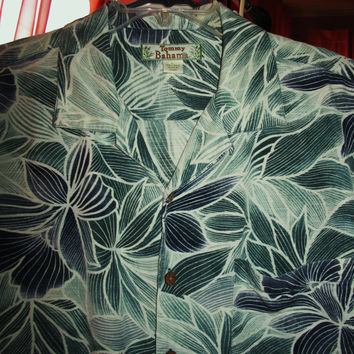Amazing Vintage Hawaiian Shirt TOMMY BAHAMA  Blue Green  Flowers 100% Silk Size L  Very Collectible