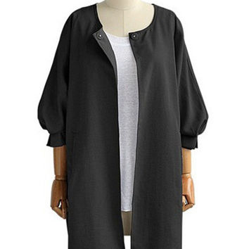 Puff Sleeve Casual Long Coat