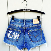 Levi's High Waisted Cut Off Denim Jean Shorts - Kappa Alpha Theta Greek Sorority Monogram - Sizes US 0 - 20 Women