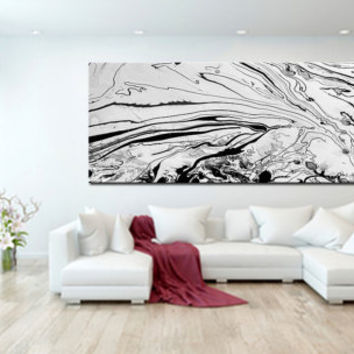 Original Black And White Art Abstract Oil Painting On Canvas Extra Large Wall