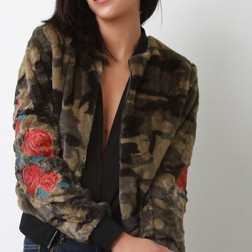 Embroidered Faux Fur Camouflage Bomber Jacket