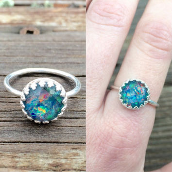 vintage sterling silver synthetic opal ring - size 8 ring