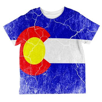 Colorado Vintage Distressed State Flag All Over Toddler T Shirt