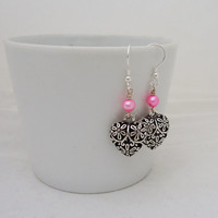 Pink Freshwater Pearls and Heart Earrings, Dangle Heart Earrings, Pearls Earrings, UK Seller
