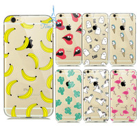 Soft Transparent Cases for iPhone 6s Case 6 5S 5 SE Soft Silicon TPU Transparent Fruit Pineapple Lemon Banana Thin Phone Cases