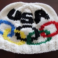 Hand Knit USA Olympic Hat