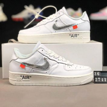 NIKE Air Force 1 Low Fashion Women Casual Running Sport Shoes Sneakers White(Silvery Hook)