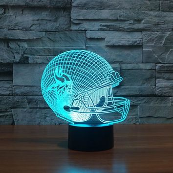 3D American football helmet Minnesota Vikings team led light furniture