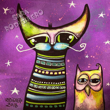 Party People ~ orig. cat and owl - illustration on paper - Acrylic paint & watercolor - cats - pop art cat - Cat art -
