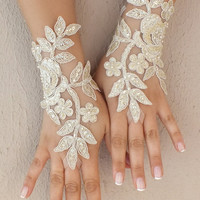 Free ship, champagne gold, ivory, white, black Wedding gloves  bridal fingerless french lace  gauntlets fingerloop,  lace glove