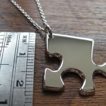 Ready to Ship - Jigsaw Puzzle Pendant Necklace with letter T
