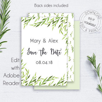 Save the Date Greenery Wedding, Leaves, Engagement, Invitation, Wedding, Printable, Editable Template, Fall Wedding, Rustic, Watercolour