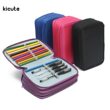 72 Holes 4 Layer Portable Oxford School Pencil Case Colored Pencils Pen Pouch Brush Holder Pockets Bag School Art Supplies