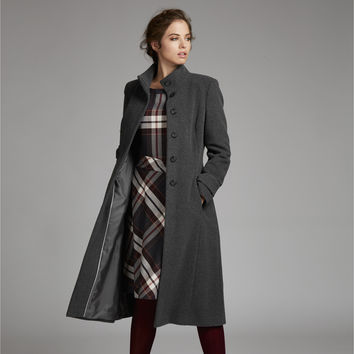 Funnel Neck Straight Wool Coat