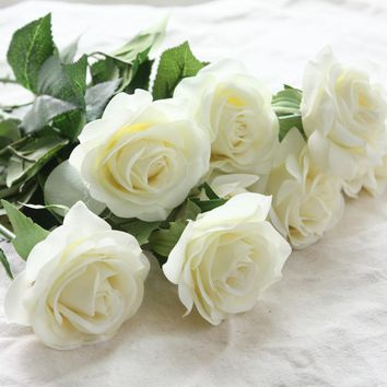 10pcs/lots Real Touch Rose Artificial Flowers Rose Flowers Wedding Bouquet Party Flowers bridesmaid Home Decorative Flowers