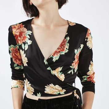 Floral Satin Wrap Top | Topshop