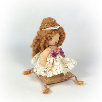 Miniature cloth textile doll - small gift - 3,5 inch (9 cm) Princess