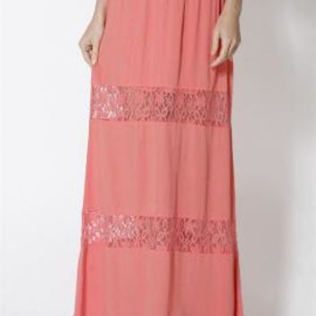 Paradise Dreams Lace Paneled Gauze Maxi Skirt in Coral | Sincerely Sweet Boutique