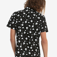 XXX RUDE Black & White Glow-In-The-Dark Alien Short-Sleeved Woven Button-Up