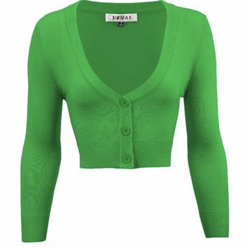 MAK V neck Cardigan Sweater Green