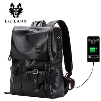 USB Charging Men Leather Backpacks For Teenager Man Backpack Anti thief Laptop Bag School