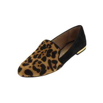 Franco Sarto Womens Zahara Calf Hair Leopard Print Smoking Loafers