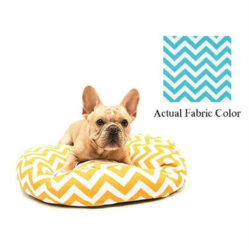 Small Dog Bed - Aqua And White Chevron
