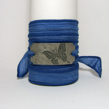 Cobalt BLUE Silk Wrap Bracelet ~ Antiqued Silver Metal Connector ~ with stamped Butterfly ~ Hand Dyed 100% Silk Ribbon - gift under 25