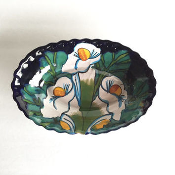 Vintage Talavera Style Bowl, Mexican Pottery Dish