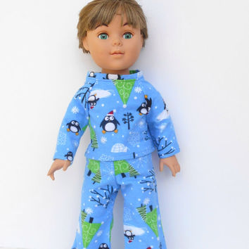 18 Inch Doll Clothes, Boy Doll Clothes, Blue Flannel Pajamas with Penguins, Christmas Pyjamas, Winter Doll Clothes, American Girl Size Doll