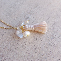 Gold Plated Tassel Necklace Charm Necklaces Pearls Crystals Necklaces Gift Ideas Dainty Necklace Layered Necklace