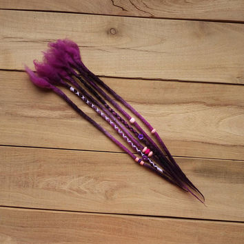 6 single permanent wool dreadlock extensions, purple wool dreads,  boho, hippie hair extensions, felted dreads